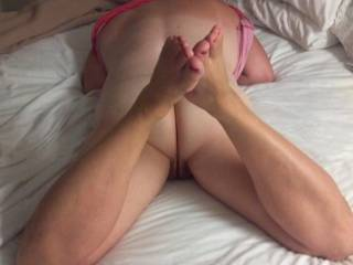 We were in a hotel and ordered pizza. This is what he saw when I opened the door wide. Told him he could check Mary out as a tip. Pizza was cold when he left but her pussy was wet and hot.