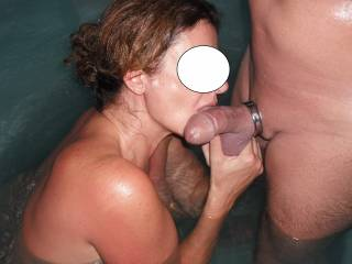 Sucking his lovely smooth thick cock in the spa at home and giving his big balls some attention too.