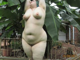 My lovely wife showing off her beautiful chubby curves outdoors. See anything you'd like to get your hands on?