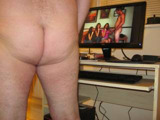 showing my ass while watching a CFNM porn film. That guy must feel GREAT standing there in the nude in front of more than one female with no other bloke around to steal his thunder