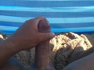 Just another day at the beach, shooting a thick load. Please leave your comments, it keeps us motivated. Thanks