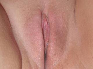Wow look how wet your sweet pussy!!  What a beautiful close up pic...all I can say is WOW!!