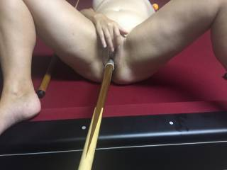 My dirty wife taking a pool cue in her pussy