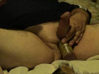 Stretched my balls out with 11 metal rings, then proceeded to use a Hitachi Wand with an attachment that fits over the head of my dick and just vibrates the Cum right out. Very intense, and then I pulled the rings off my balls one at a time. Did you enjoy