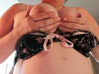 I have set the titties free, as requested. Do you want to titty fuck them.. Suck them...  Watch them swing... The options are endless..