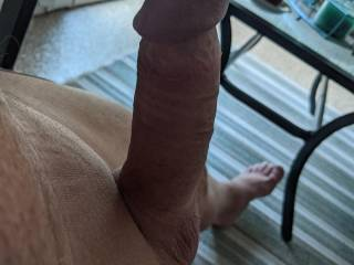 I was sitting in my sunroom when I became so horny.  I just had to take my cock out and start stroking it.  I got so hard.  I was hoping maybe someone would walk by outside and see me.  I hope you like it.