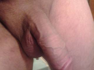 Shaved per request! What would you do with my half erect cock?