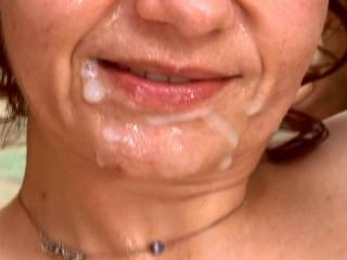Such a pretty face looking so sexy covered with fresh cum.... ready for more...??
