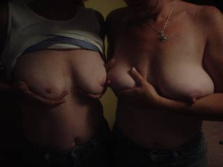 The only thing(s) beter than a nice pair of naked tits is 2 pair.