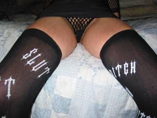 stockings say it all, if you want to feel,smell,taste this slut, follow the stocking upward
