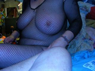 showing her nipples in fishnet