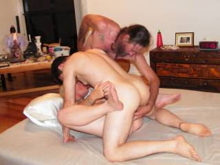 Jim with two fingers in my ass while i suck him and get fucked by a friend felt sooo good want to join us