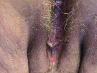 Babs' cum-filled pussy after a session in video chat.   Who wants to lick it clean, or add more to it ?