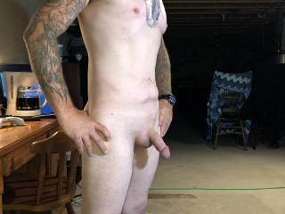 Out of the shower and clean shaved thought I would show the cock! Is there any ladies and guys out there wanna me in my wifes hott panties and bra?? Like and leave a comment and I will be putting up pics and videos of my butt plug in my ass and maybe a li