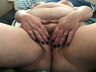 Wife plays with her pussy