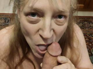 Do those eyes tell you how much Mrs. Shutterbug58 \'loves\' cock? You can see how she is craving to get all of that cum. Look closely around her lips, and you will see that she got her reward. Want to be next to help out the missus?