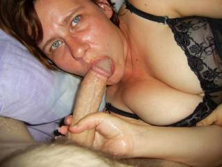 We're not sure who is more turned on by this photo...he loves her eyes and moist lips and she loves his big'un...