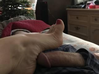 Morning footjob photo
