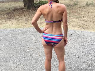 She just loves to walk around the campsite in her bikini to see who notices her!! Would you notice?