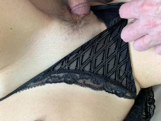 Pull the undies to the side and gently insert your cock.