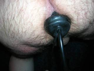 Using the inflatable butt plug, strecting that ass out, keep pumping it!