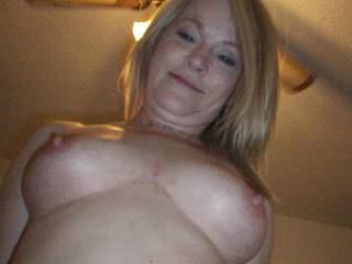 Fuck buddy staring down at me, while she rides my cock.  Great tits!!! Don\'t you think?