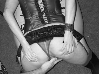 my friend commented on my wife\'s ass so i had her get on the floor, pull up her skirt and spread\'m so my buddy could play with her pussy.  would you like to play with her pussy?