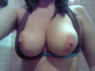First I'd kiss, suck and nibble on them until those nipples get long and hard...then I'd gently tug on them with my teeth...