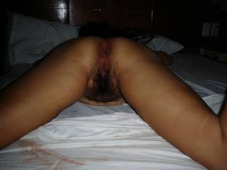 Mmmmmm hairy pussy and ass I love it