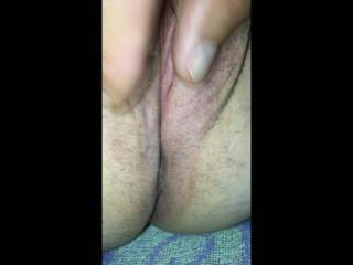 showing my wife's close-up trimmed pussy