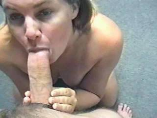 Cindy sucking me and stroking me and getting a cum facial
