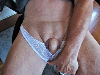 split-crotch undies coming down, cock getting hard. pubic mound showing... I want it rubbed.