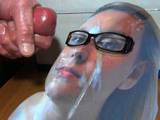Jacking off my Hard cock and shooting my warm sticky cum all over Adelle\'s sexy face while wearing my GF\'s glasses. As she requested! Her reward for a cock tribute she sent me!