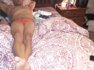 My wife took this while I was lounging around in her thongs
