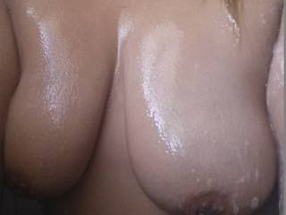 give you a nice rinse then lay u down and start at those beautiful tits with my tongue and work my way down to your hot wet pussy ans start licking your sexy pussy lips until i get your lovely clit in my mouth and suck it until u cant stand it and slowly slide my cock into that wet pussy and fuck you until my cock is covered with your cum,and pound that pussy until i fill you with my hot sticky cum,how about it?