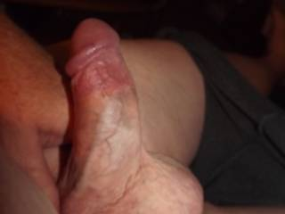 just a side view of my curved cock, feeling naughty hoping for a visit from a friend
