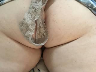 friends panties on wife\'s ass
