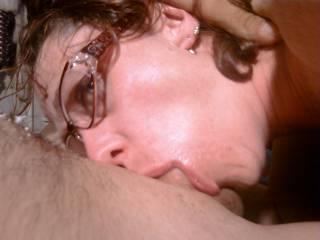 Slutwife Jen holding a cock in her throat