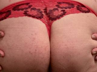 My butt in my favorite pair of sexy lacy thong girlie panties;)