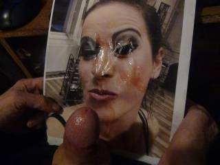 for Nik80 and Gabby per request we jack off on her hot face covering it in cum