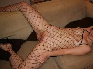 her new fishnet body stocking - very sexy