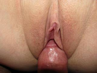 Hubby's hard cock sliding into my wet pussy