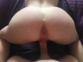My sexy wife\'s ass in the air doggy POV.  She was waiting for me to fuck her ass after her pussy