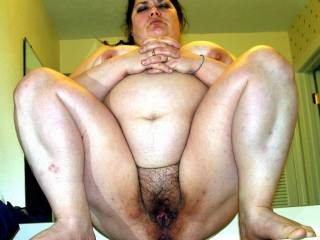 Wife Lydia Bersot showing off her heavily used cunt after a long weekend of fucking friends and a few strangers.