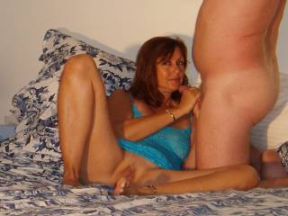 Candi Annie stroking cock while posing for the camera- what a wife!!