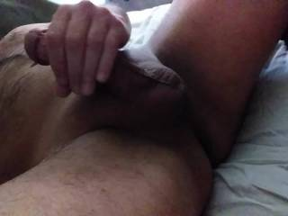 Rubbing my cock and tasting my pre cum, want a taste ?