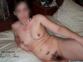 Nice tits, love them natural. Love your hairy pussy too