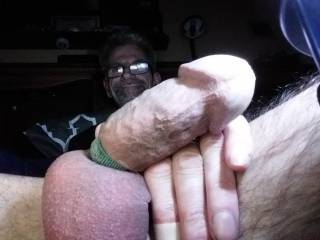 I get really  darn hard like this when I strap my cock tite. Lady's like it.