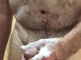 Going to lather my penis and jerk off in the shower.