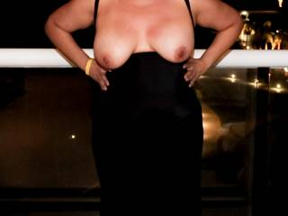 My tits out on a hotel resort balcony!